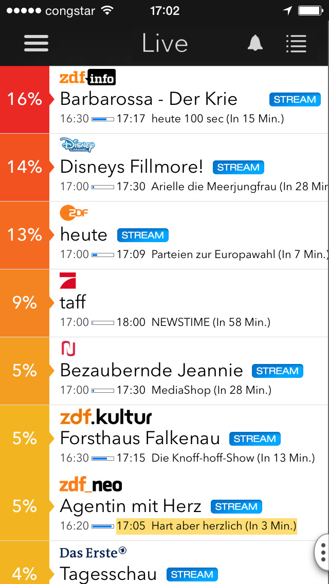 Screenshot von Vollversion: Live TV App iPhone- / iPad-App